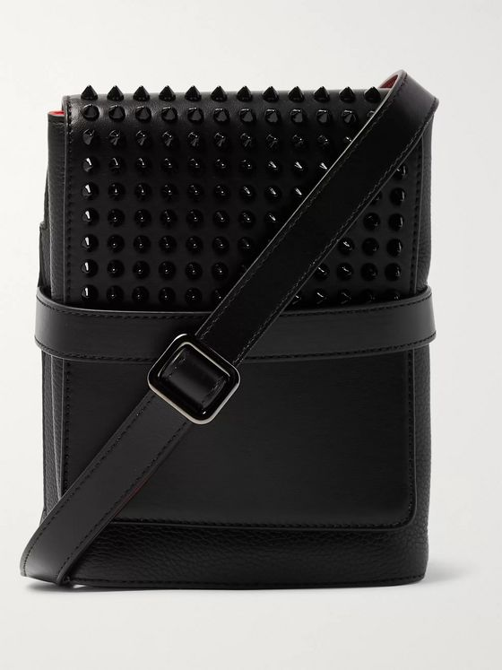 Christian Louboutin Benech Spiked Smooth and Full-Grain Leather Messenger Bag