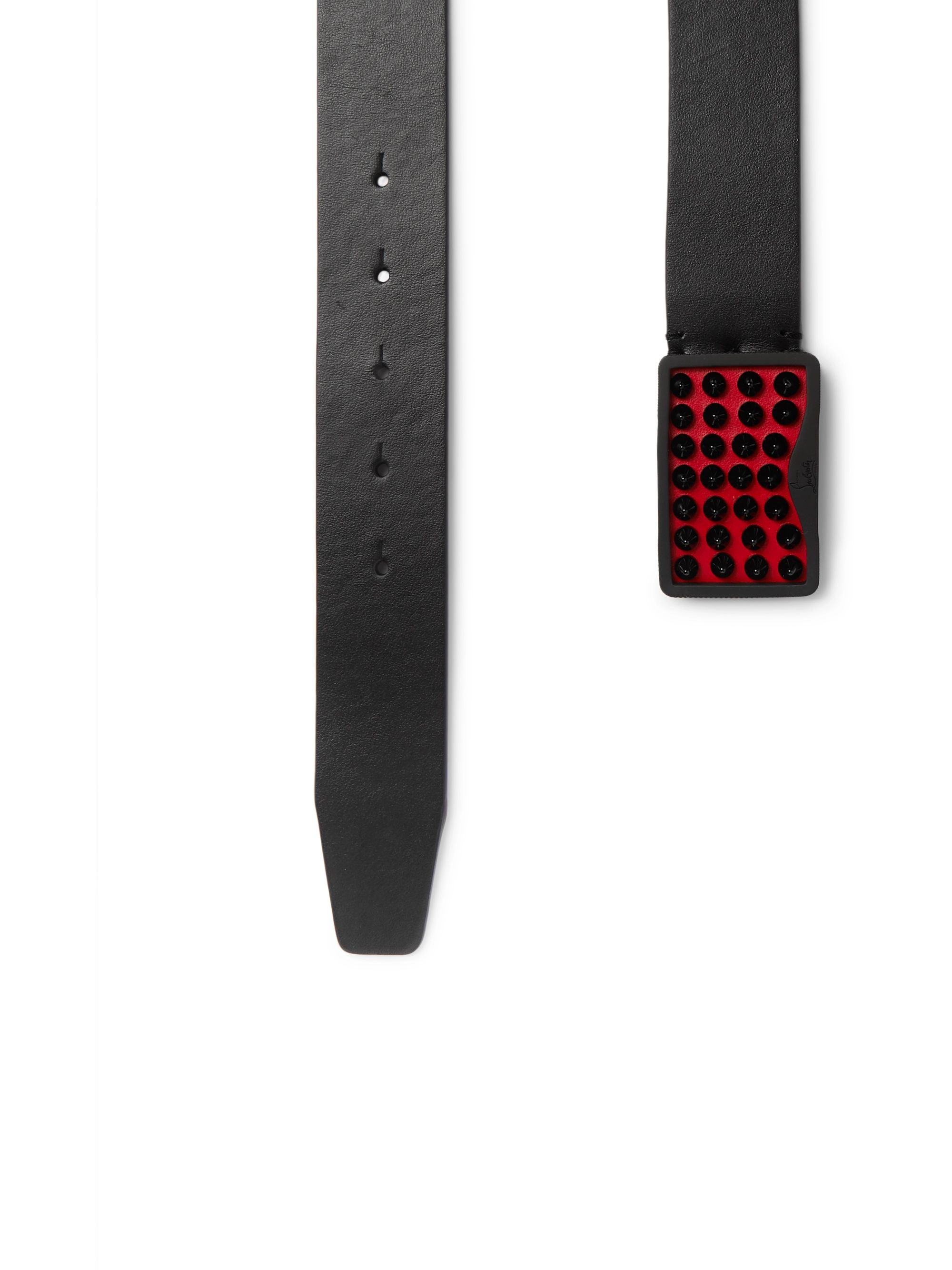 Christian Louboutin 3.4cm Black Spiked Leather Belt