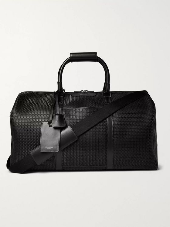 Serapian Leather-Trimmed Stepan Coated-Cotton Duffle Bag