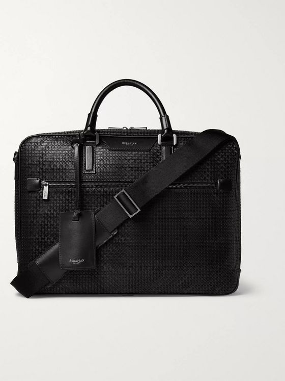 Serapian Leather-Trimmed Stepan Coated-Cotton Briefcase