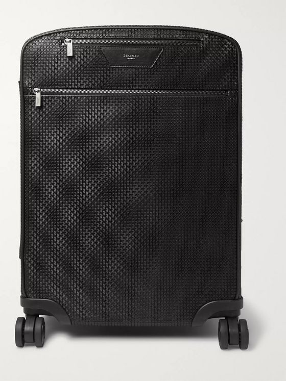 Serapian Leather-Trimmed Stepan Coated-Cotton Carry-On Suitcase