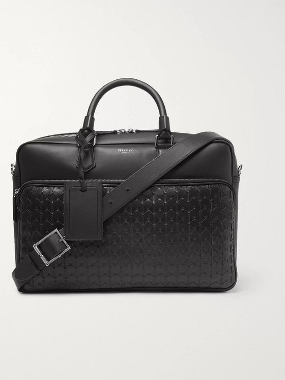 Serapian Woven Leather Briefcase