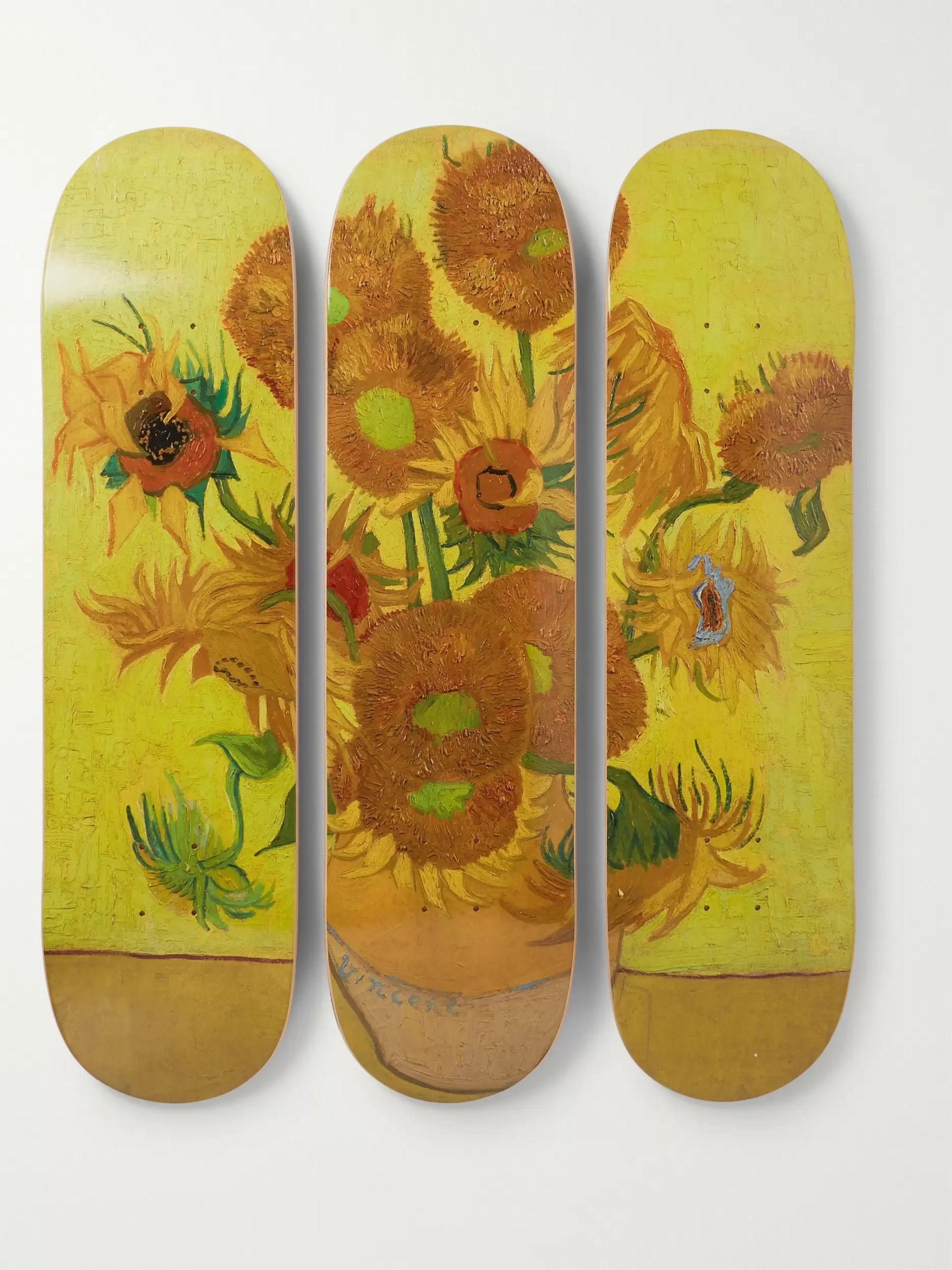+ Vincent Van Gogh Set Of Three Printed Wooden Skateboards by The Skate Room