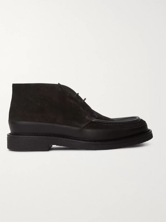MR P. Jacques Leather-Trimmed Suede Desert Boots
