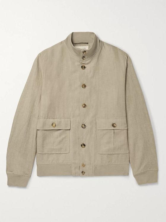 Valstar Valstarino Slim-Fit Wool and Linen-Blend Bomber Jacket