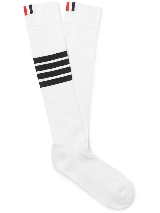 Thom Browne Striped Cotton-Blend Over-The-Calf Socks
