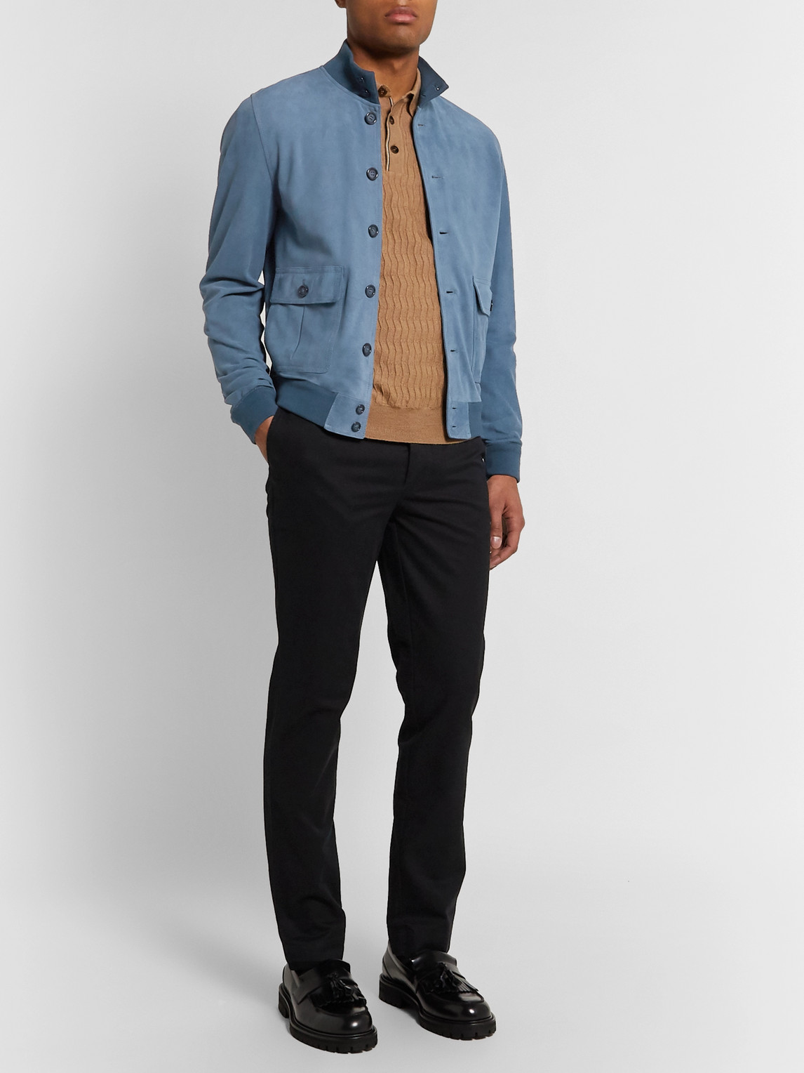 Valstar Ino Slim-fit Suede Bomber Jacket In Blue
