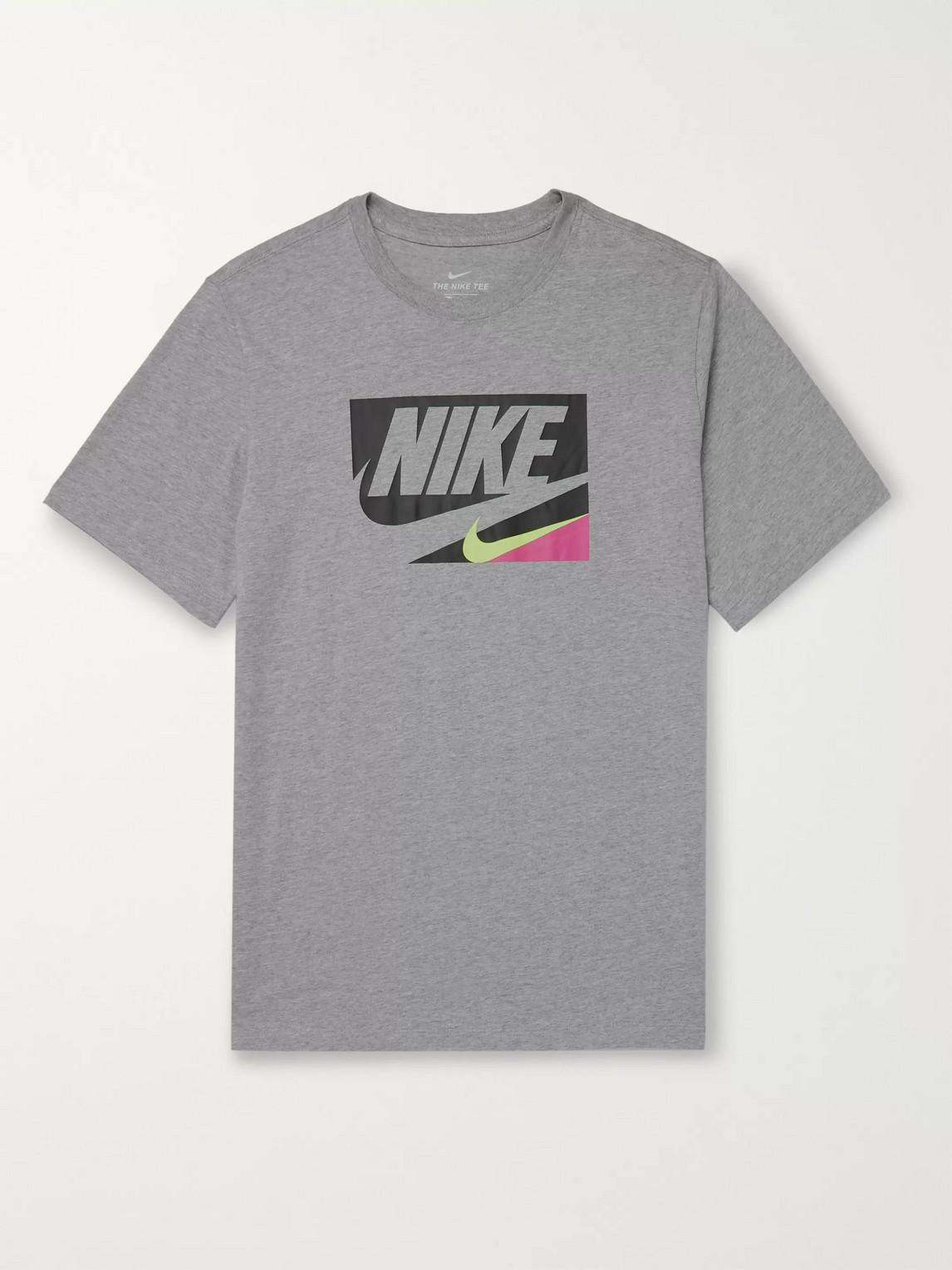 Nike Core 1 Logo-print Mélange Cotton-jersey T-shirt In Gray