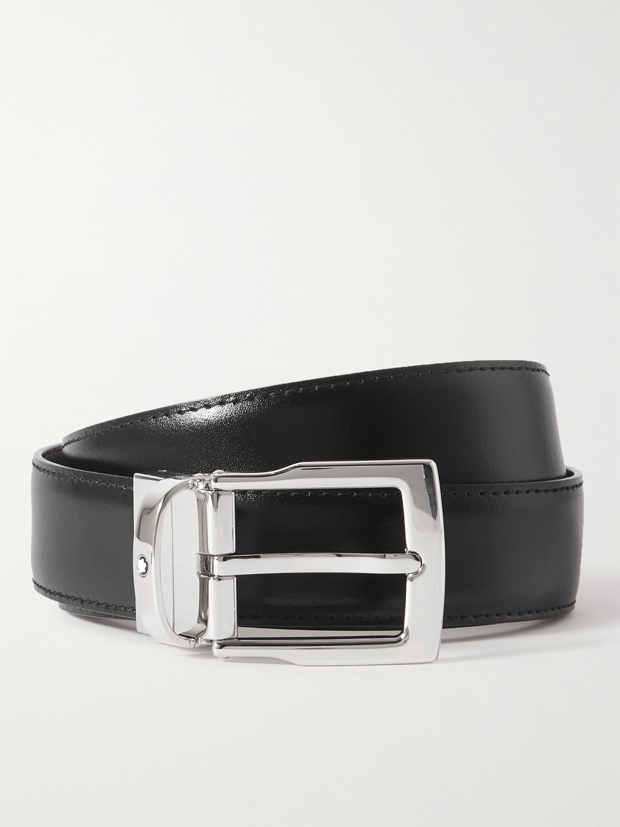 몽블랑 벨트 Montblanc 3cm Reversible Leather Belt,Black