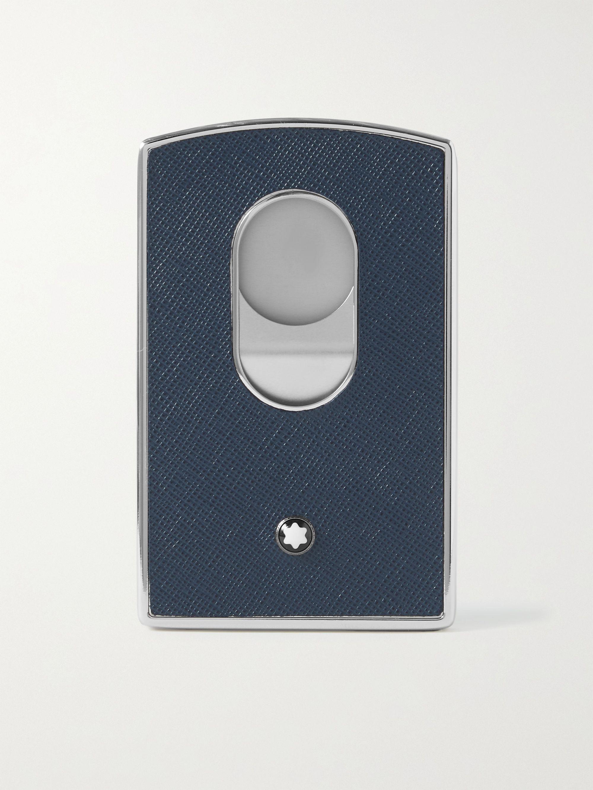 몽블랑 카드 지갑 Montblanc Sartorial Cross-Grain Leather and Silver-Tone Card Case,Navy