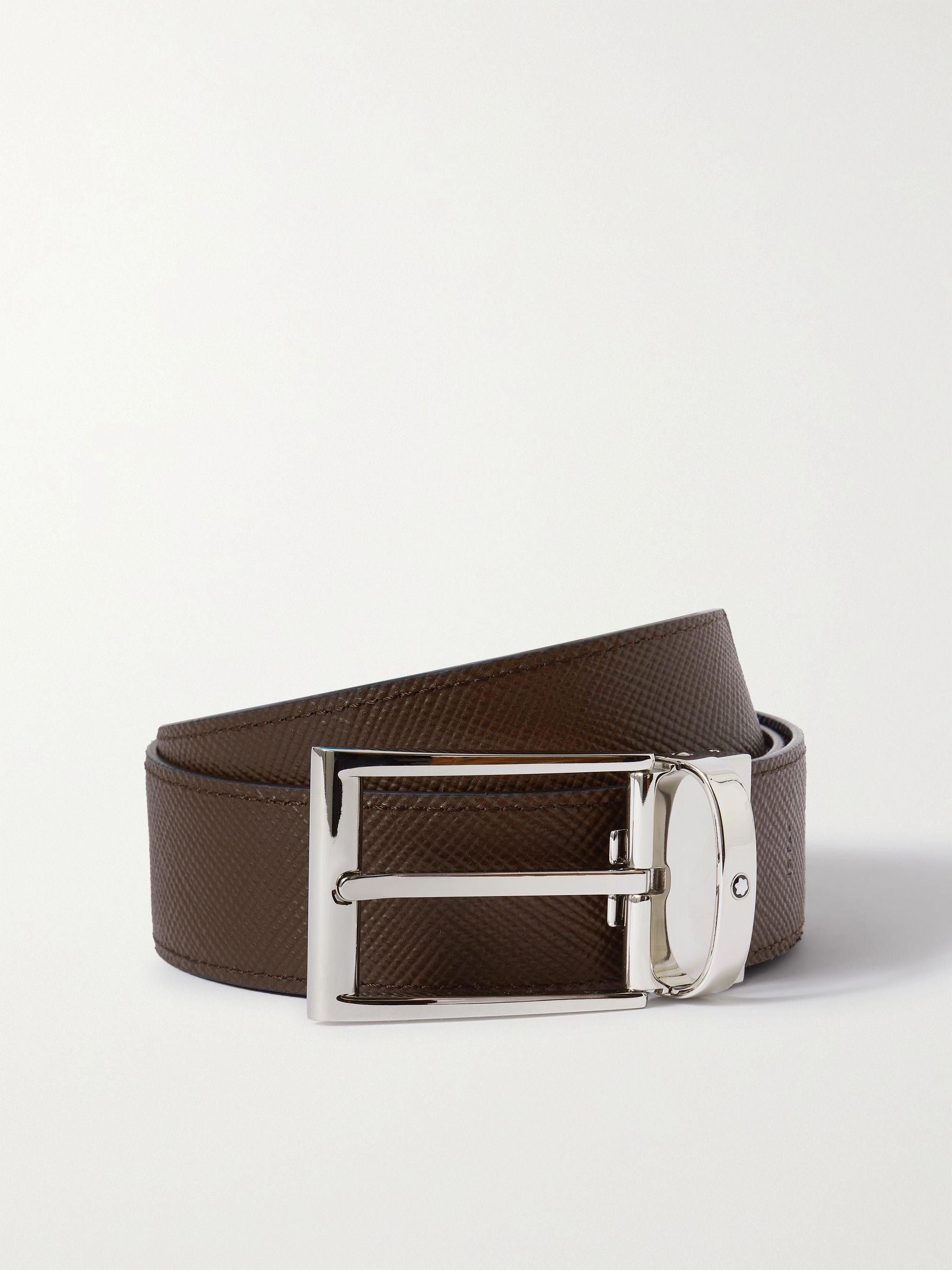 몽블랑 벨트 Montblanc 3.5cm Reversible Textured-Leather Belt,Black