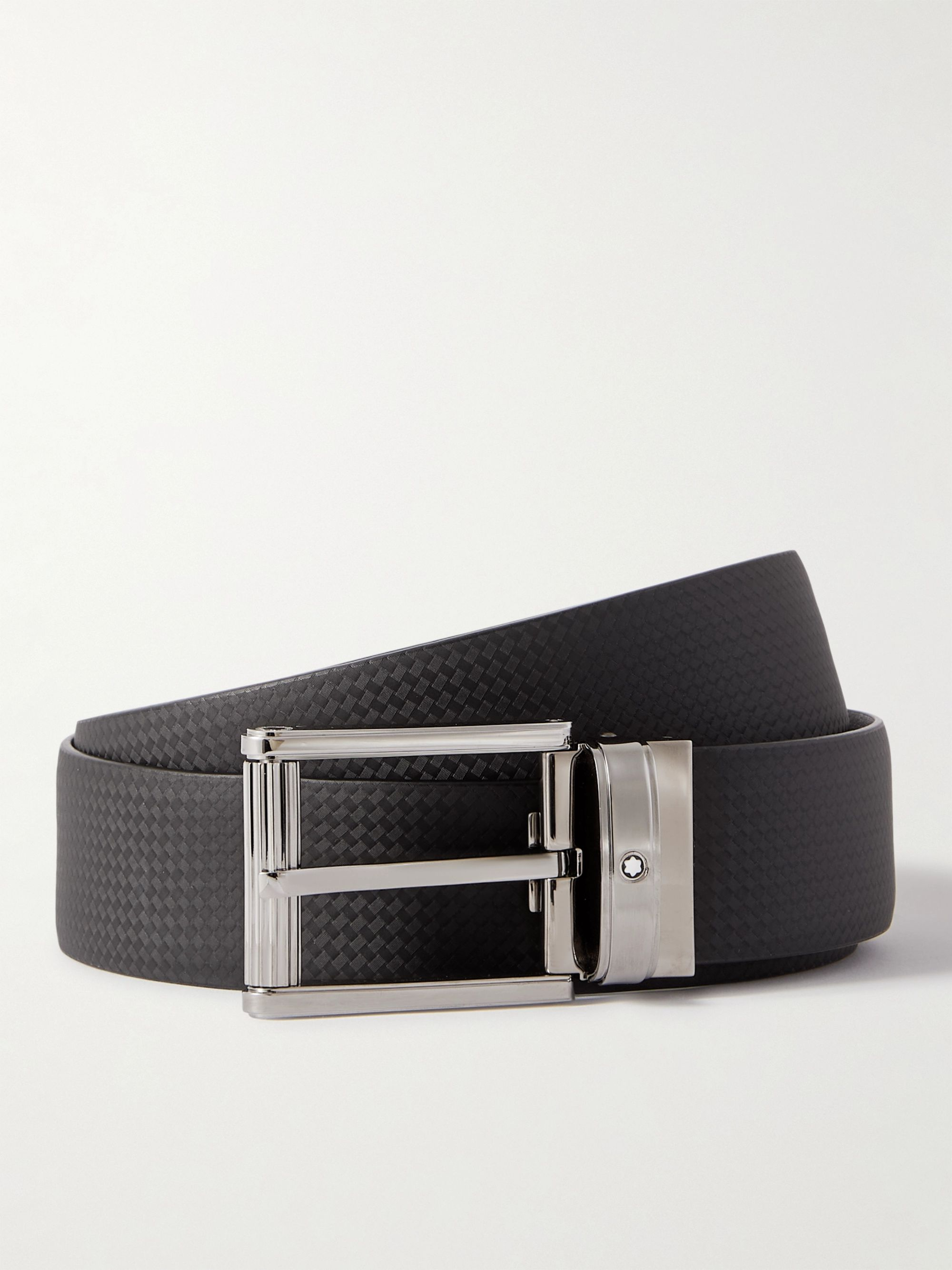 몽블랑 벨트 Montblanc 3cm Textured-Leather Belt,Black