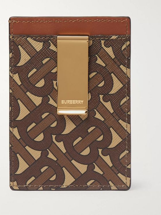 Burberry Leather-Trimmed Monogrammed Canvas Wallet