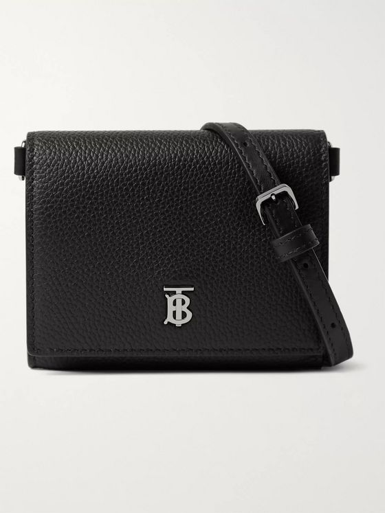 Burberry Logo-Detailed Full-Grain Leather Wallet with Lanyard