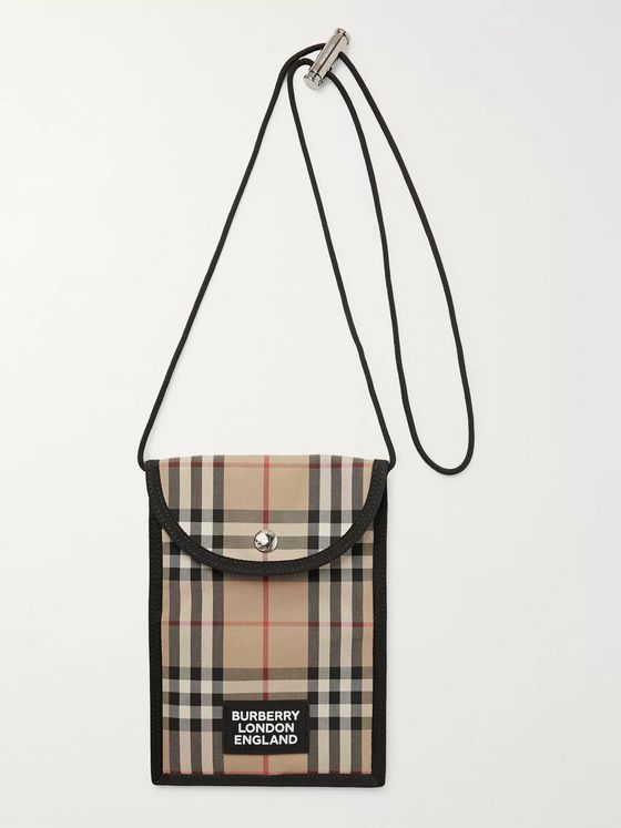 Burberry Logo-Appliquéd Checked Canvas Pouch