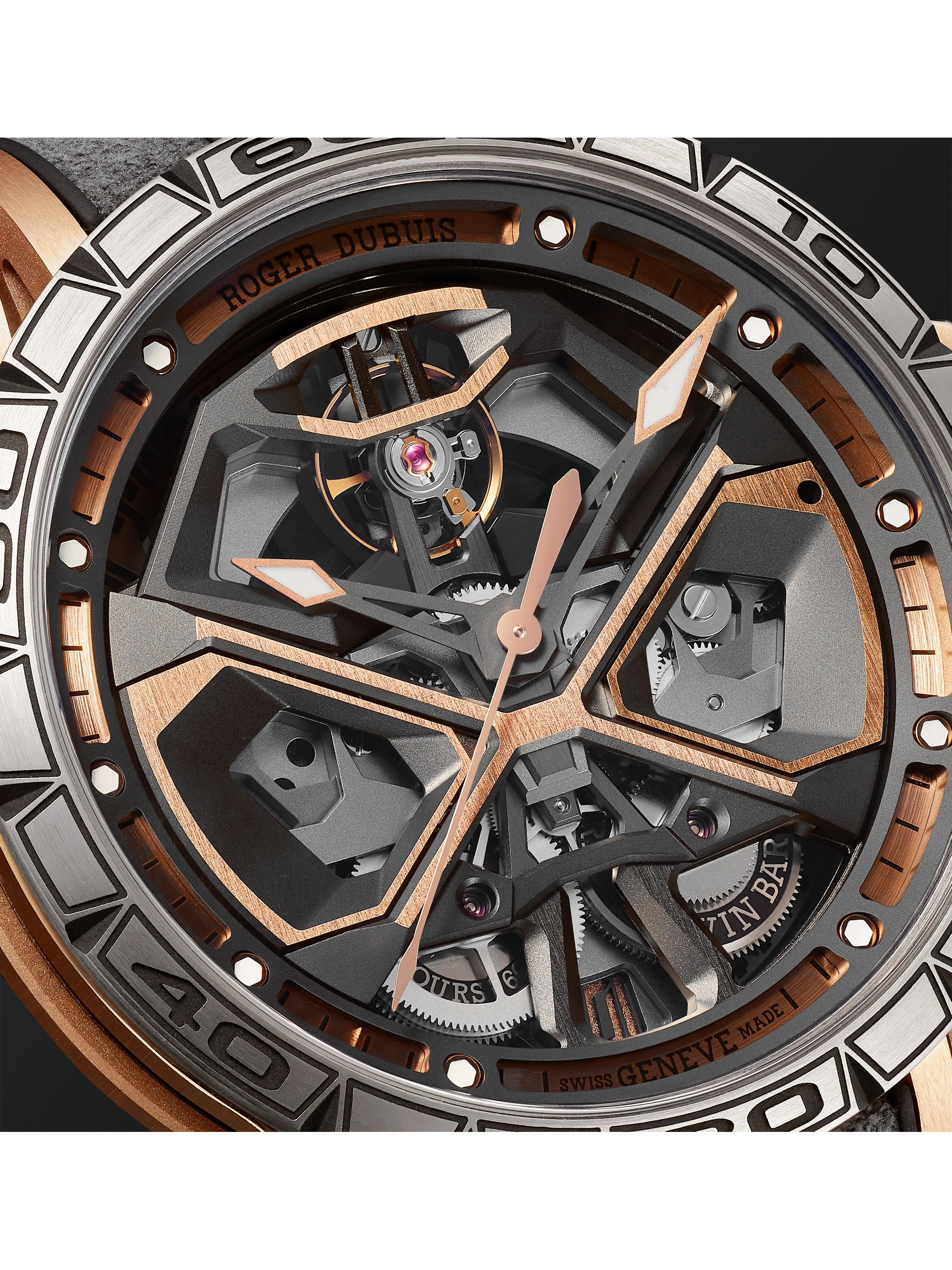 Roger Dubuis Excalibur Huracán Automatic Skeleton 45mm 18-Karat Pink Gold, Titanium and Rubber Watch, Ref. No. RDDBEX0750