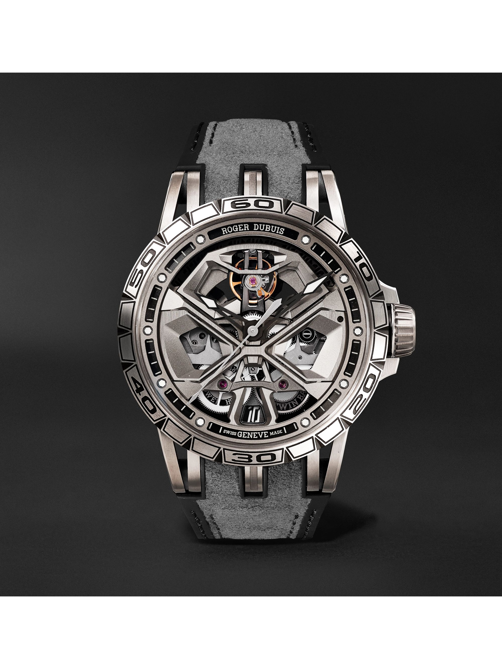 Roger Dubuis Excalibur Huracán Automatic Skeleton 45mm Titanium and Rubber Watch, Ref. No. RDDBEX0748