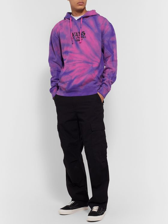 Vans Logo-Print Tie-Dyed Fleece-Back Cotton-Blend Jersey Hoodie