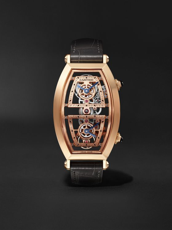 CARTIER Tonneau XL Dual Time Limited Edition Hand-Wound Skeleton 29.8mm 18-Karat Rose Gold and Alligator Watch, Ref. No. WHTN0005