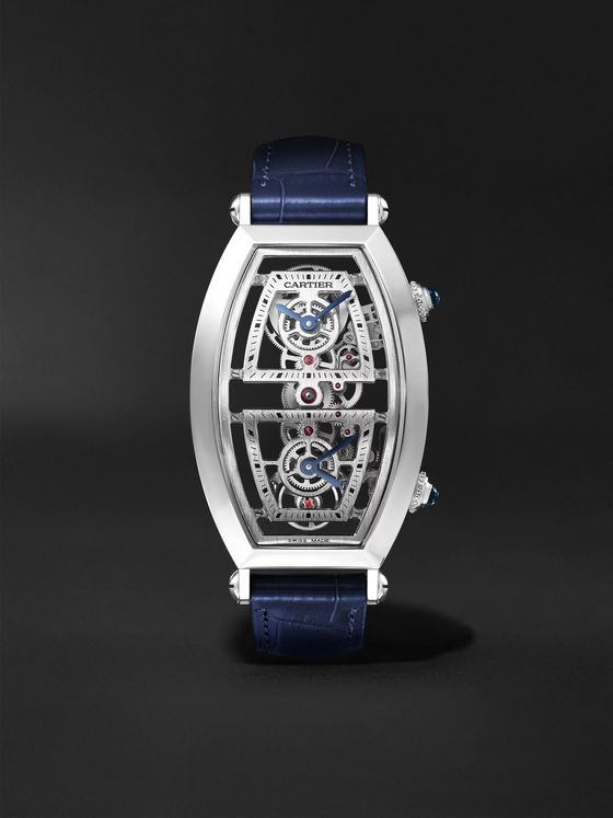CARTIER Tonneau XL Dual Time Limited Edition Hand-Wound Skeleton 29.8mm Platinum and Alligator Watch, Ref. No. WHTN0006