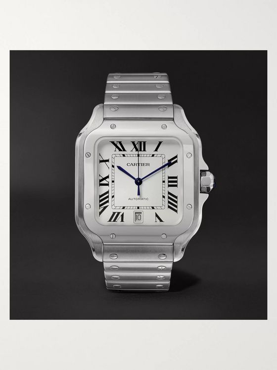 CARTIER Santos Automatic 39.8mm Interchangeable Stainless Steel and Leather Watch , Ref. No. WSSA0009