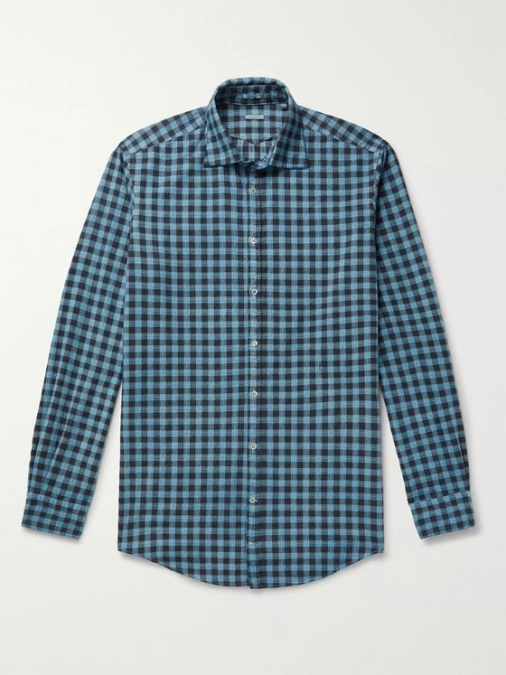 Massimo Alba Slim-Fit Checked Cotton-Flannel Shirt