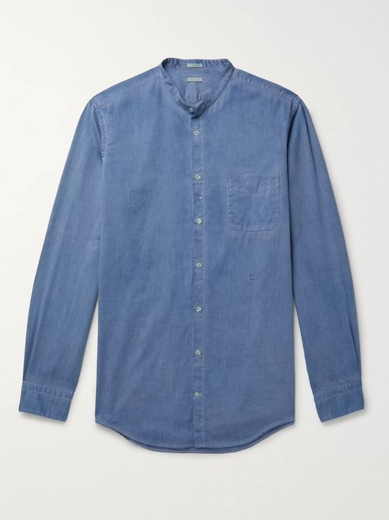 MASSIMO ALBA Slim-Fit Grandad-Collar Watercolour-Dyed Herringbone Cotton Shirt