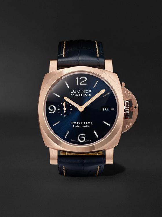 PANERAI Luminor Marina Sole Blu Automatic 44mm Goldtech and Alligator Watch, Ref. No. PAM01112