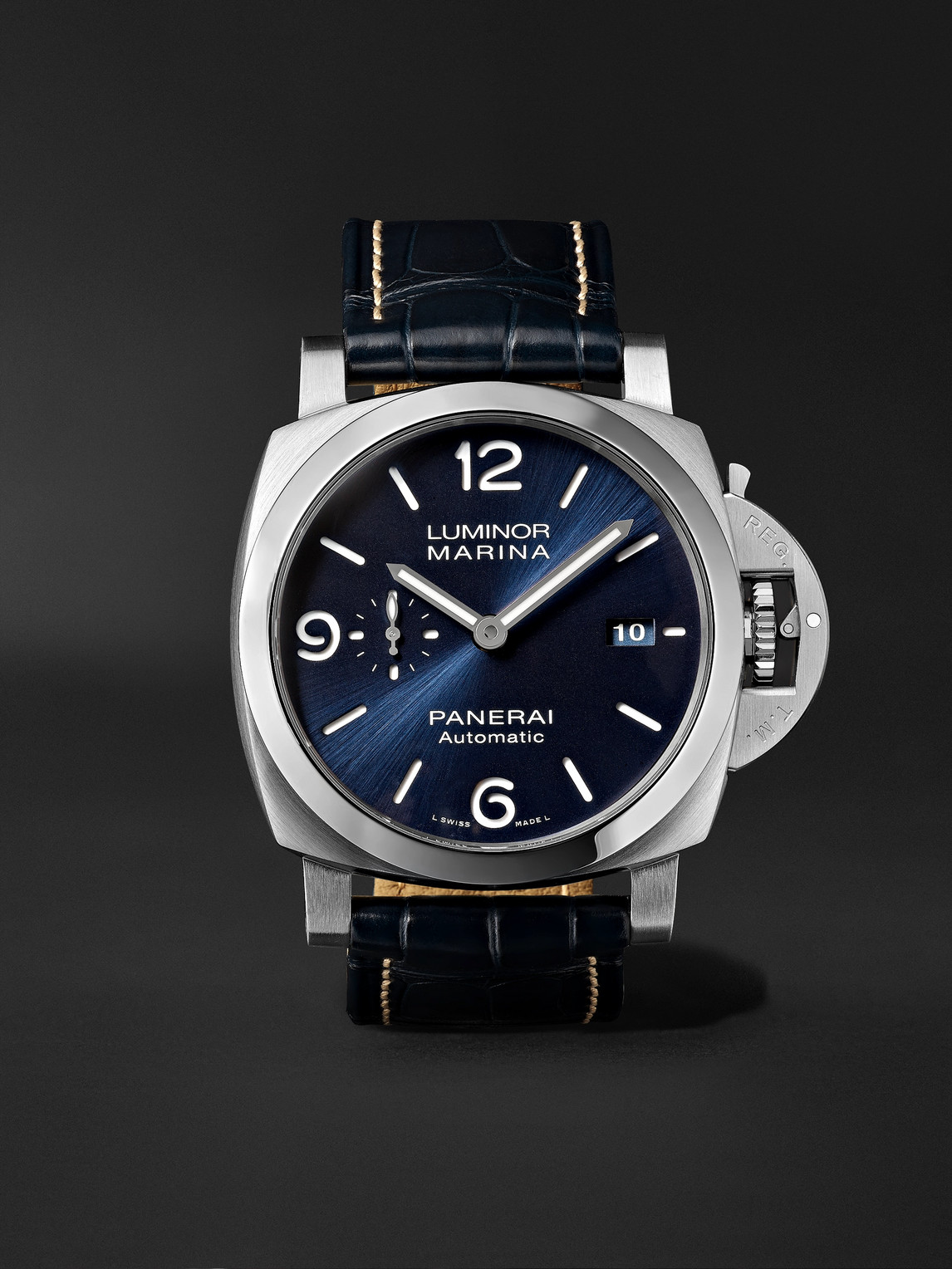 Panerai Luminor Marina Automatic 44mm Stainless Steel And Alligator Watch, Ref. No. Pam01313 In Blue