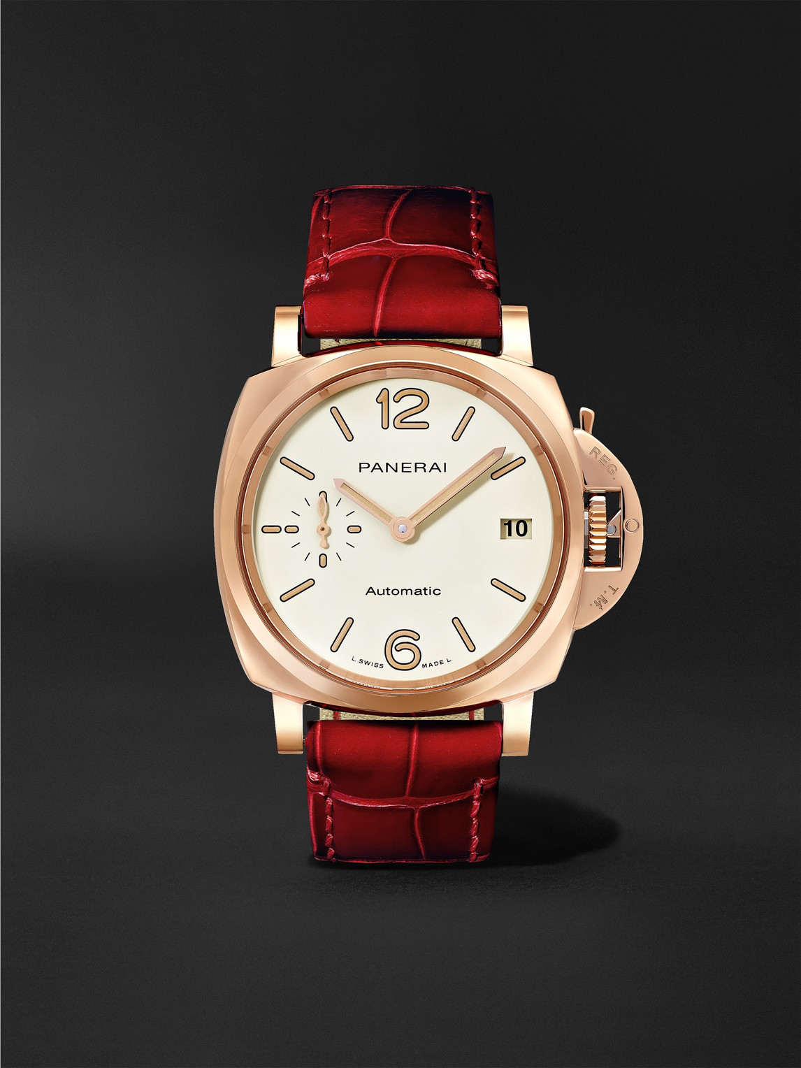 Panerai Luminor Due Automatic 38mm Goldtech And Alligator Watch In Red
