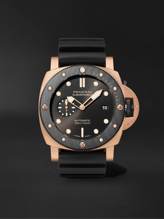 PANERAI Submersible OroCarbo Automatic 44mm Goldtech and Rubber Watch, Ref. No. PAM01070