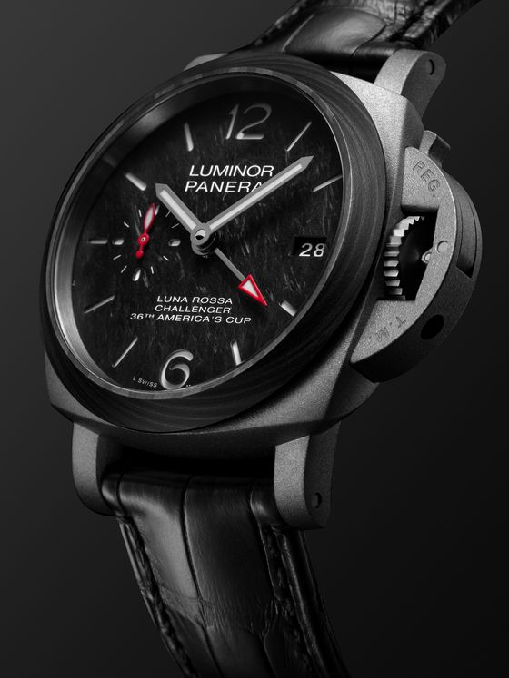 PANERAI Luminor Luna Rossa Limited Edition Automatic GMT 42mm Titanium and Alligator Watch, Ref. No. PAM01096