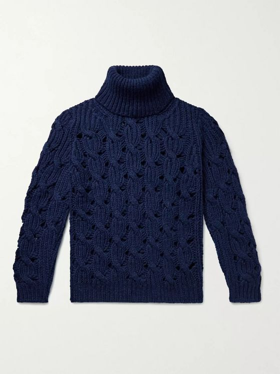 Isabel Marant Cable-Knit Wool-Blend Rollneck Sweater