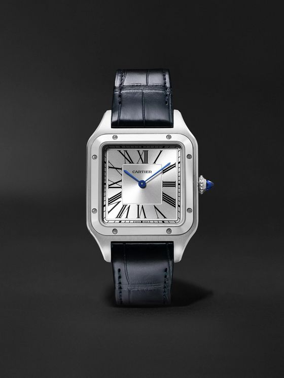 CARTIER Santos-Dumont 31.4mm Stainless Steel and Alligator Watch, Ref. No. WSSA0022