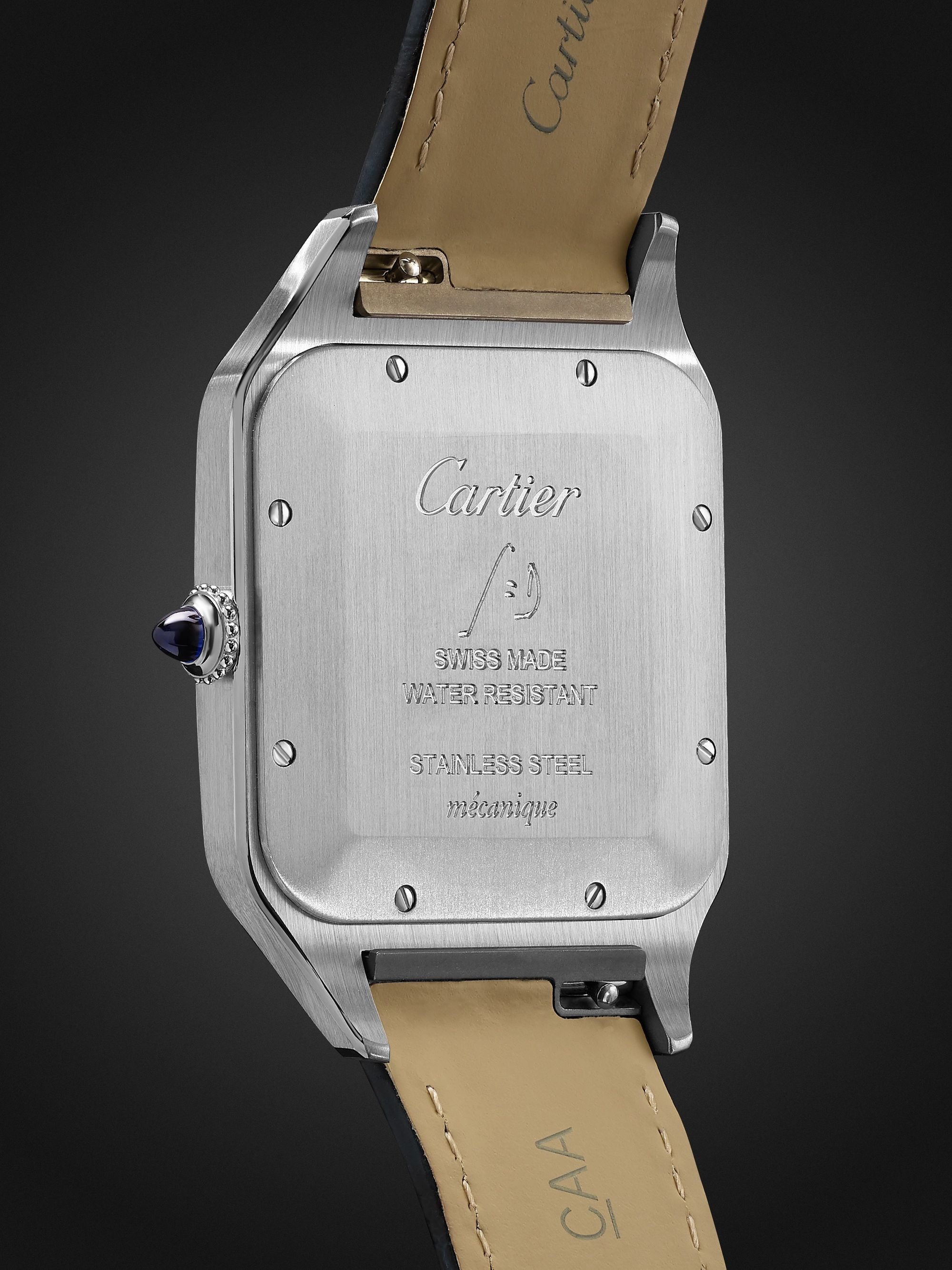 Cartier Santos-Dumont Hand-Wound 33.9mm Stainless Steel and Alligator Watch, Ref. No. WSSA0032
