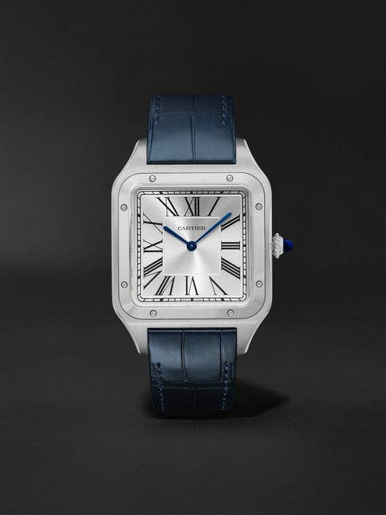 CARTIER Santos-Dumont Hand-Wound 33.9mm Extra Large Steel and Alligator Watch, Ref. No. WSSA0032