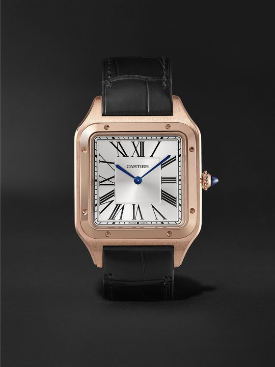 CARTIER Santos-Dumont Hand-Wound 33.9mm 18-Karat Rose Gold and Alligator Watch, Ref. No. WGSA0032
