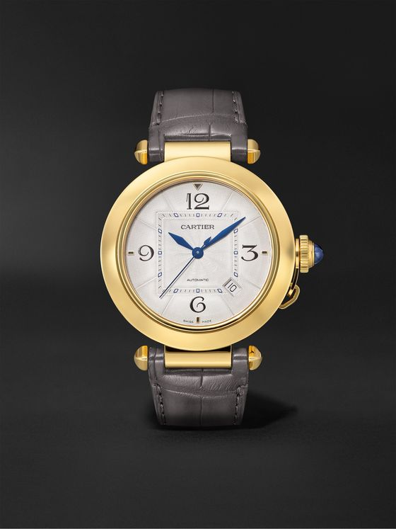 CARTIER Pasha de Cartier Automatic 41mm 18-Karat Gold and Alligator Watch, Ref. No. WGPA0007