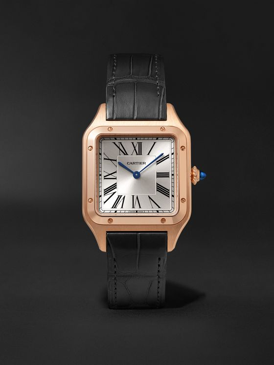 CARTIER Santos-Dumont 31.4mm 18-Karat Rose Gold and Alligator Watch, Ref. No. WGSA0021