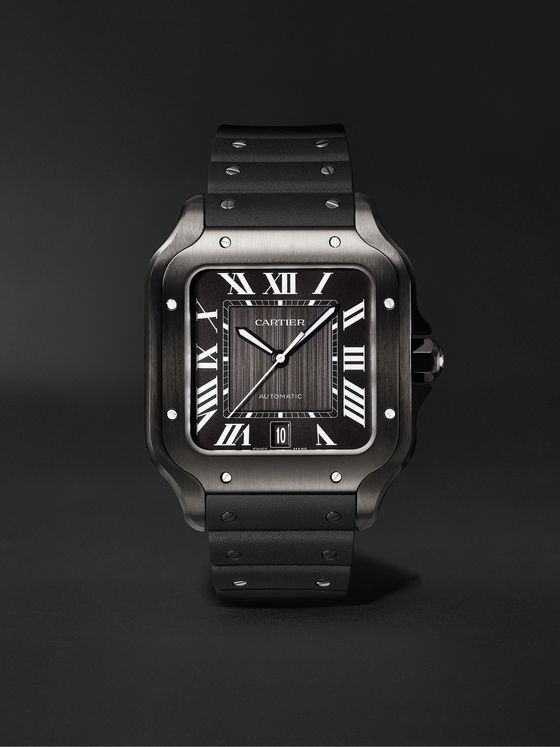 CARTIER Santos de Cartier Automatic 39.8mm Steel and Alligator Leather Watch, Ref. No. WSSA0039