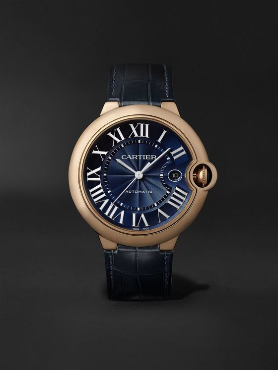 CARTIER Ballon Bleu de Cartier Automatic 42mm 18-Karat Pink Gold and Alligator Watch, Ref. No. WGBB0036