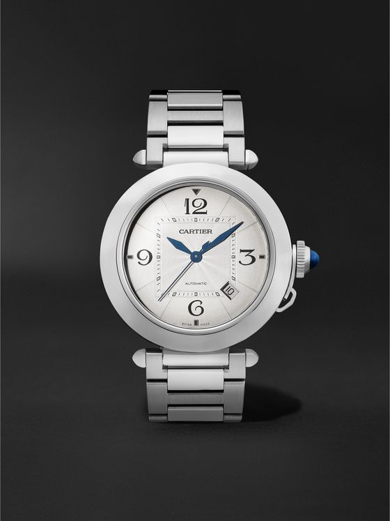 CARTIER Pasha de Cartier Automatic 41mm Stainless Steel and Alligator Watch, Ref. No. WSPA 0009