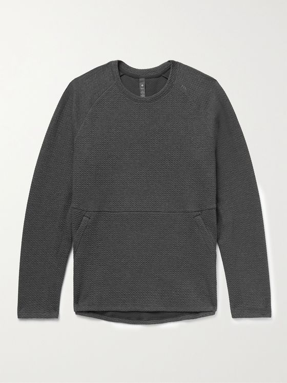 LULULEMON At Ease Mélange Waffle-Knit Cotton-Blend Sweatshirt