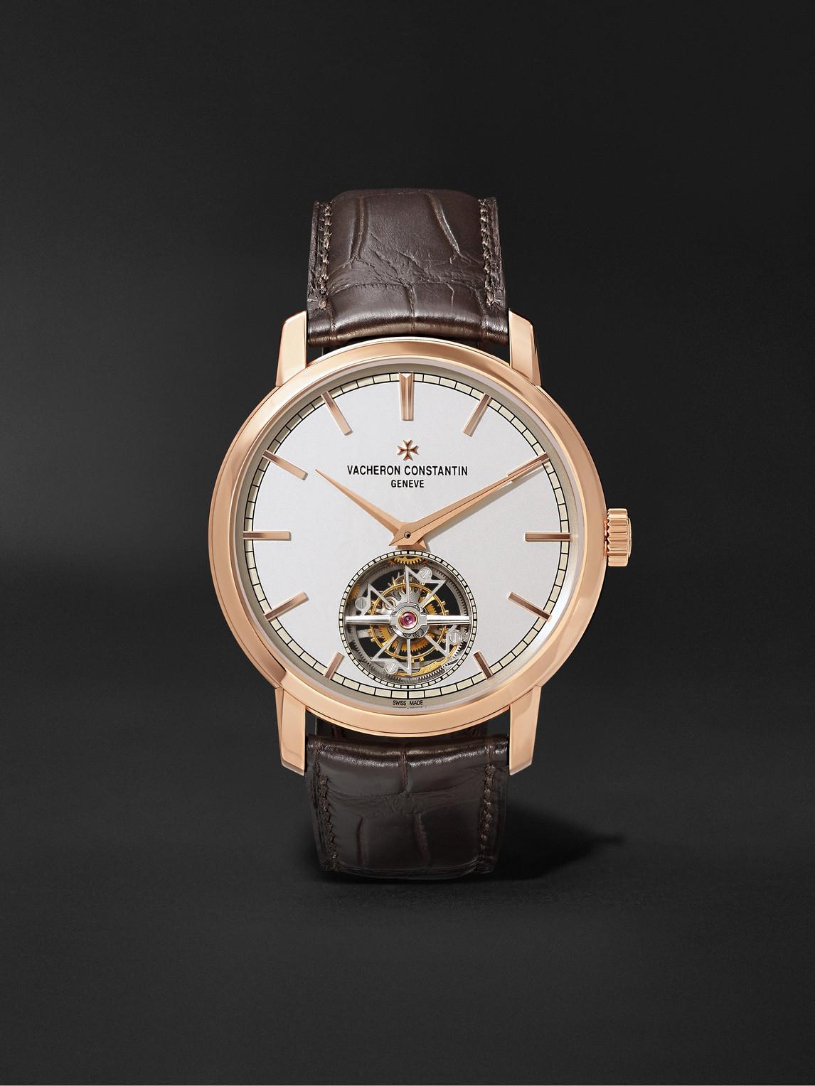 Vacheron Constantin Traditionnelle Tourbillon Automatic 41mm 18-karat Pink Gold And Alligator Watch, Ref. No. 6000t/000r In Brown