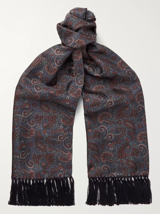 Sulka Fringed Paisley-Print Mulberry Silk-Twill Scarf