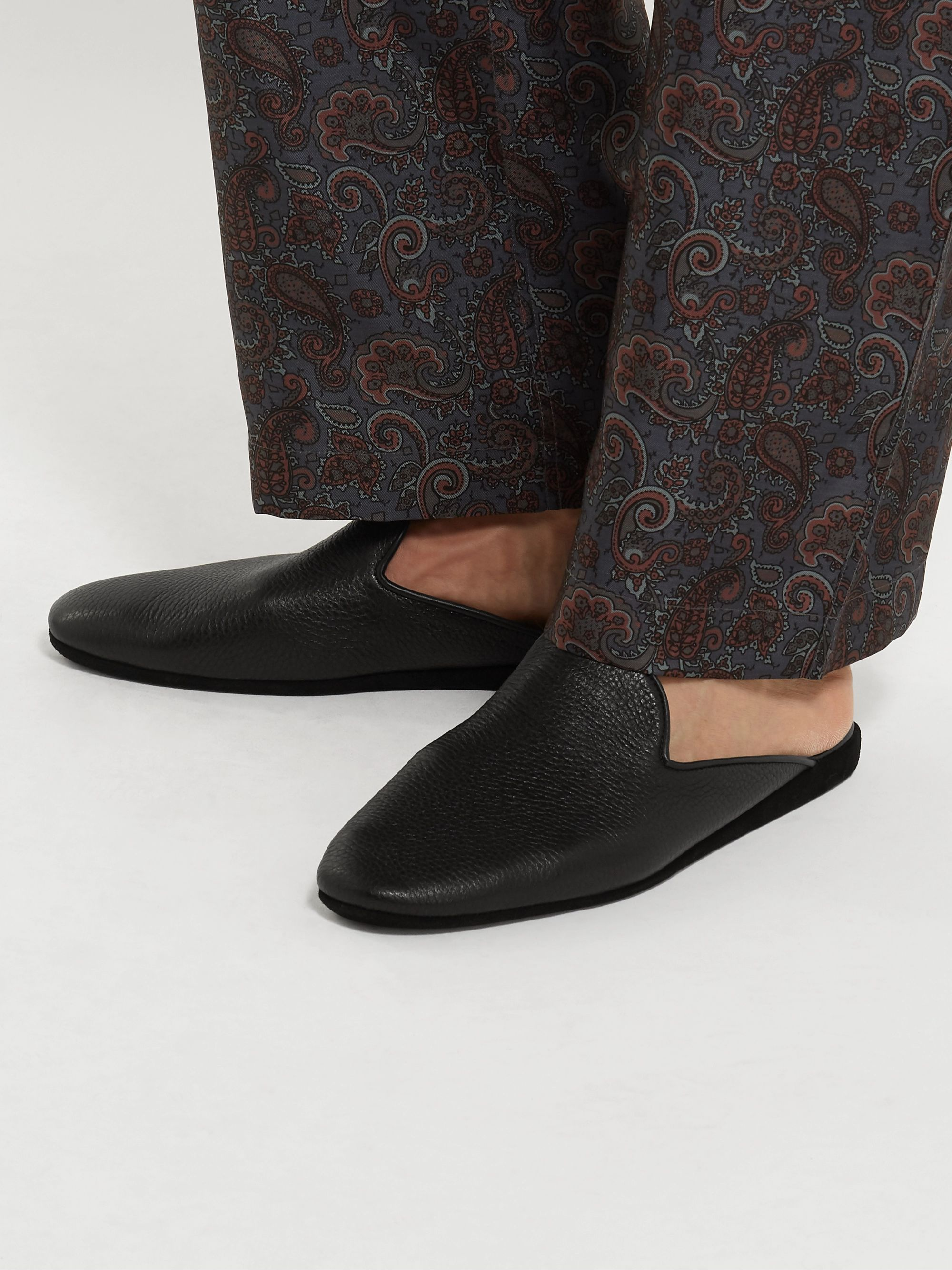 Sulka Full-Grain Leather Slippers