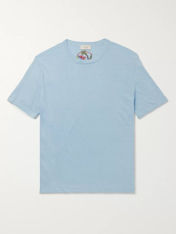ALTEA Embroidered Linen T-Shirt