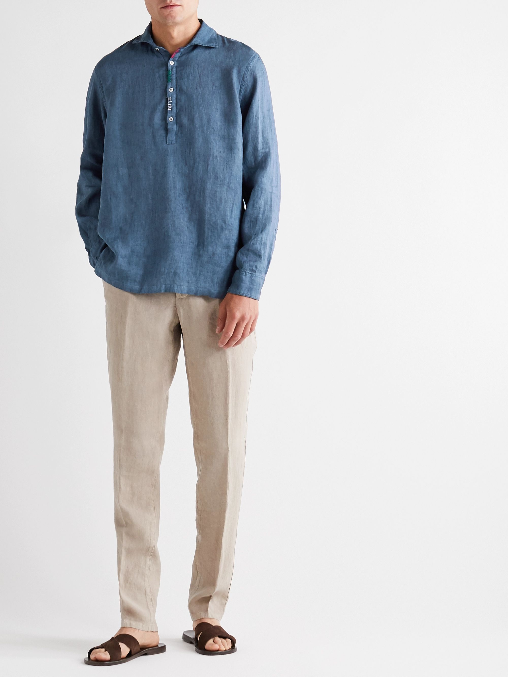Altea Embroidered Linen Half-Placket Shirt