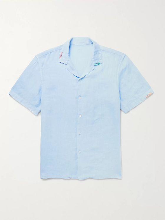 Altea Camp-Collar Embroidered Linen Shirt