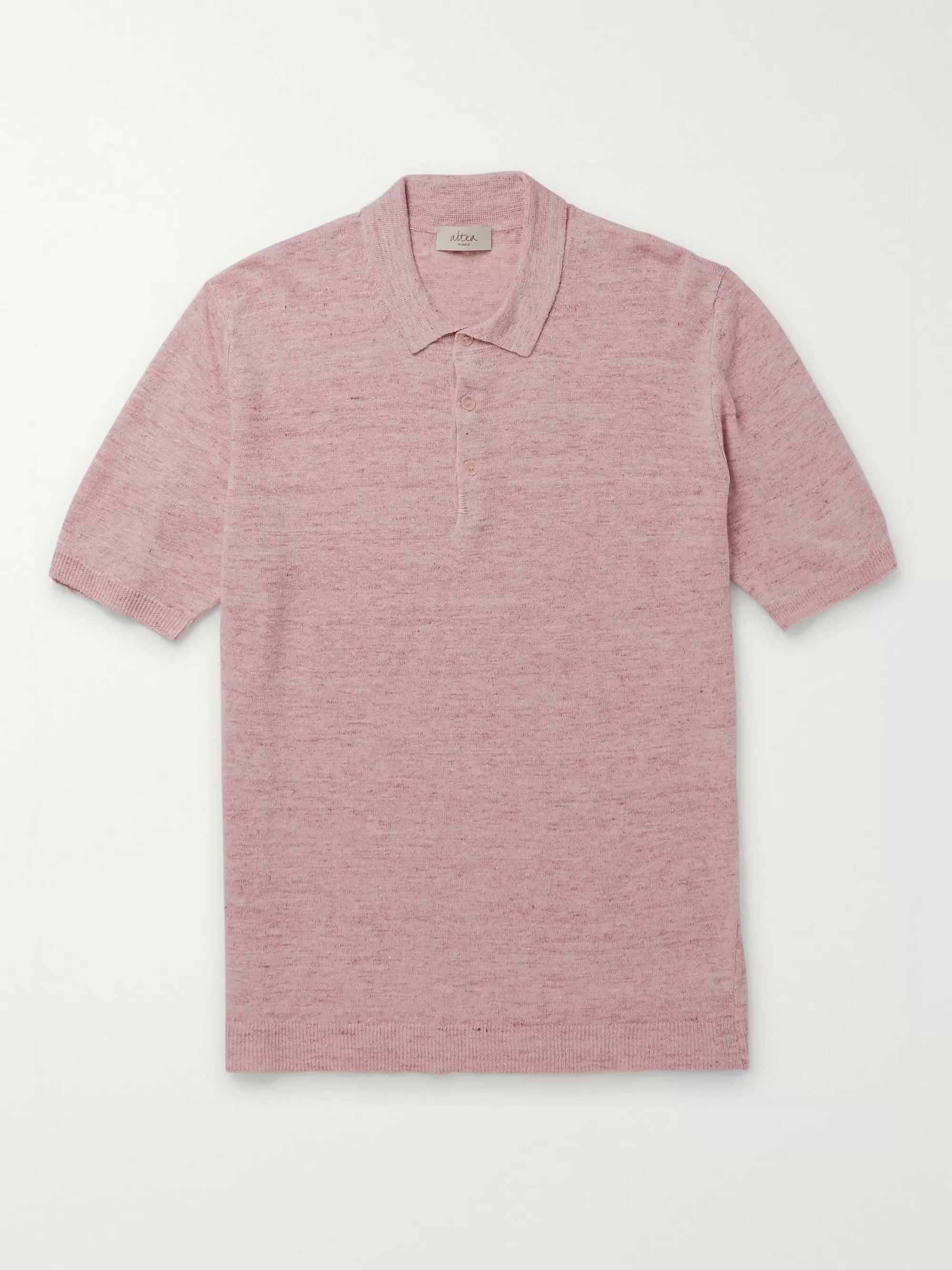 Altea Embroidered Mélange Linen Polo Shirt